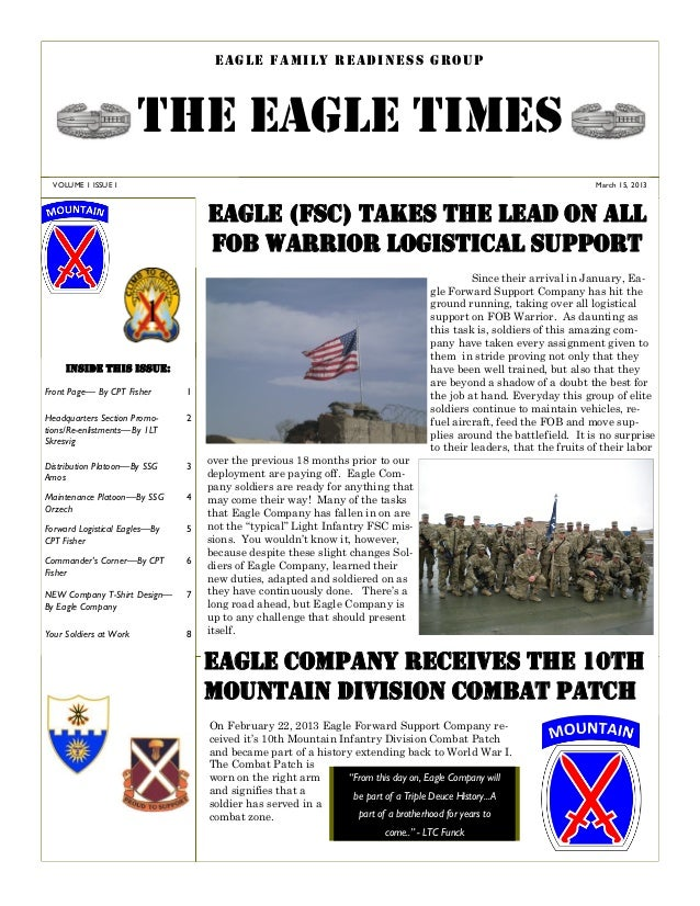 EAGLE FAMILY READINESS GROUP                        THE EAGLE TIMES  VOLUME 1 ISSUE 1                                     ...