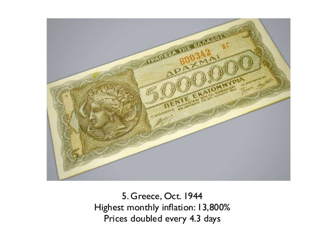 4. Germany, Oct. 1923Highest monthly inflation: 29,500%  Prices doubled every: 3.7 days