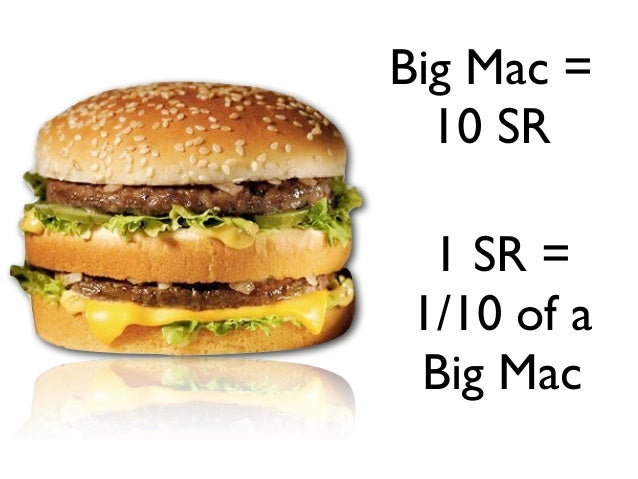 Big Mac =  10 SR 1 SR =1/10 of aBig Mac