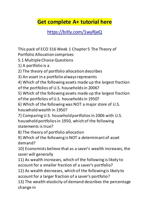 eco 316 week 2 chapter 12 Eco 316 week 2 quiz (chapter 7-12) for more course tutorials visit wwwuophelpcom 1 eco 316 week 2 quiz (chapter 7-12) 2 embed document.