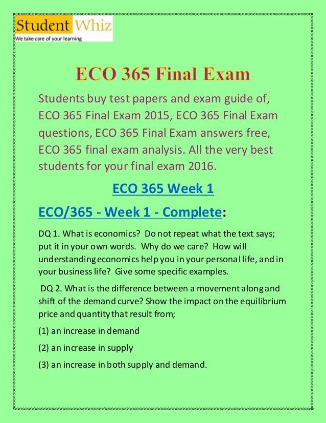 Microeconomics Exam Answer Sheet – ECO 365 Part 2