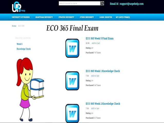 eco 365 week 5 Eco 372 week 5 final examination complete the final examination you are  allowed one attempt to complete the examination, which is timed and must be.
