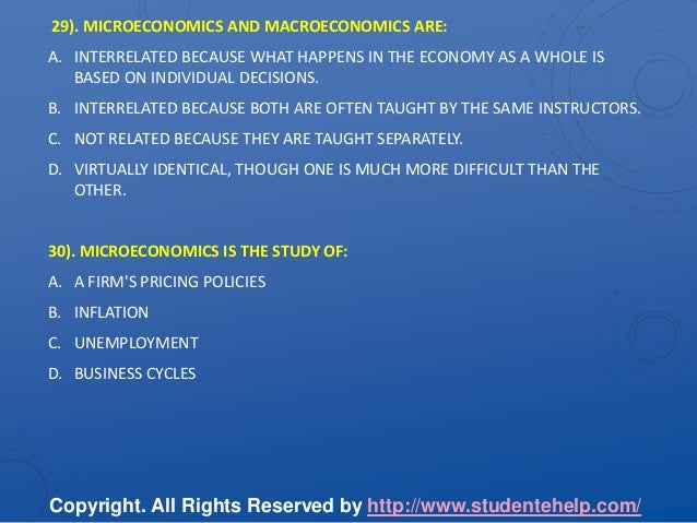 Microeconomics assignment answers