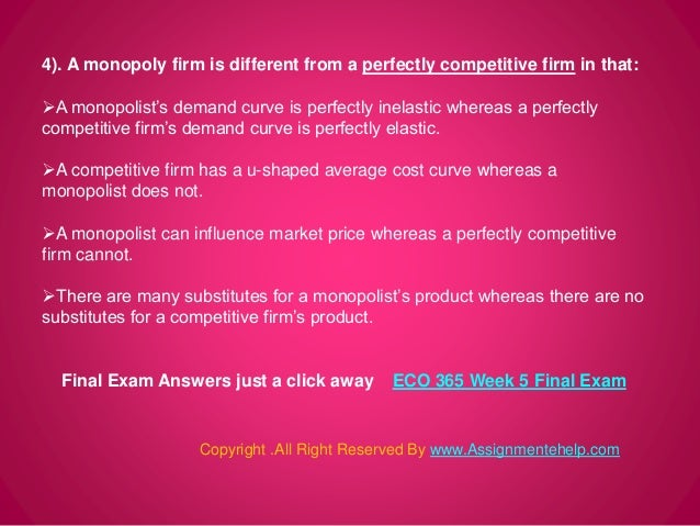 eco 365 week 5 final project papper Use principles of microeconomics, chs 1, 2, 3, 4, 5, and 6, as the source for all your information eco/365 week 4 principles of microeconomics the economics of labor markets presentation bonus paper included-same content in a 1,509 word new 2018 final exam plus four exams from prior years.