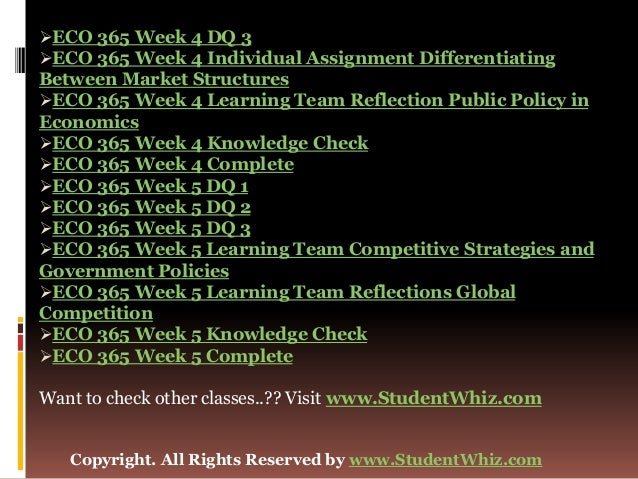 ECO 365 Week 4 Individual Assignment