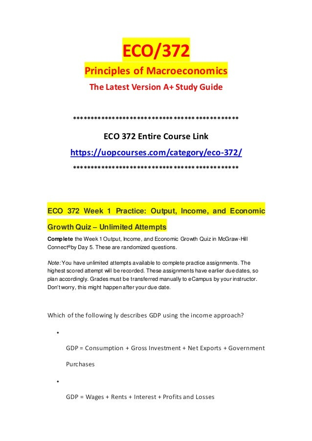 ECO 372 Week 1 Practice Output Income And Economic Growth