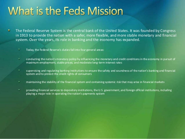 eco 372 week 4 federal reserve Eco 372 week 4 federal reserve presentation individual federal reserve presentation your boss has chosen you to give a presentation to a number of foreign officials regarding the united states federal reserve system.