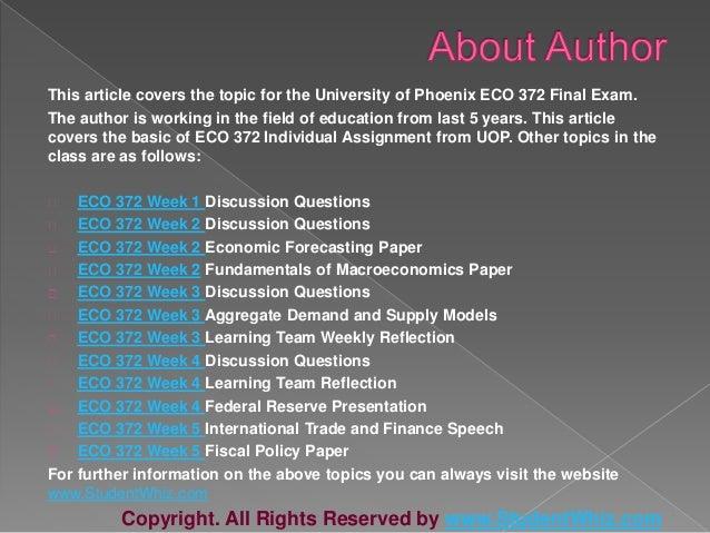 eco 372 team reflection Eco 372 week 2 learning team reflection economic forecasting.