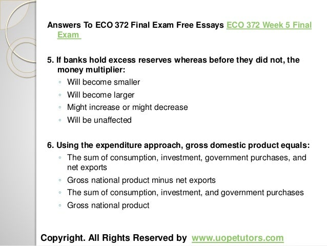 eco 372 week 5 final exam Eco 372 final examare you finding eco 372 final exam questions and answers,  eco 372 week 5 final exam answers online uop students s.