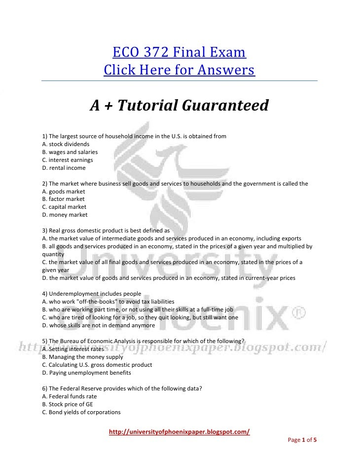 ECO 372 Final Exam                        Click Here for Answers                   A + Tutorial Guaranteed1) The largest s...