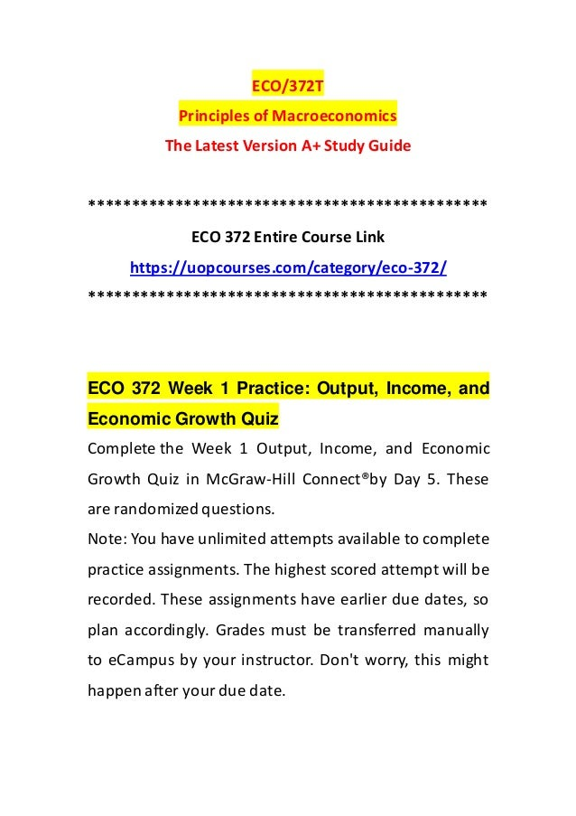 Eco 372 Week 1 Practice Output Income And Economic Growth Quiz
