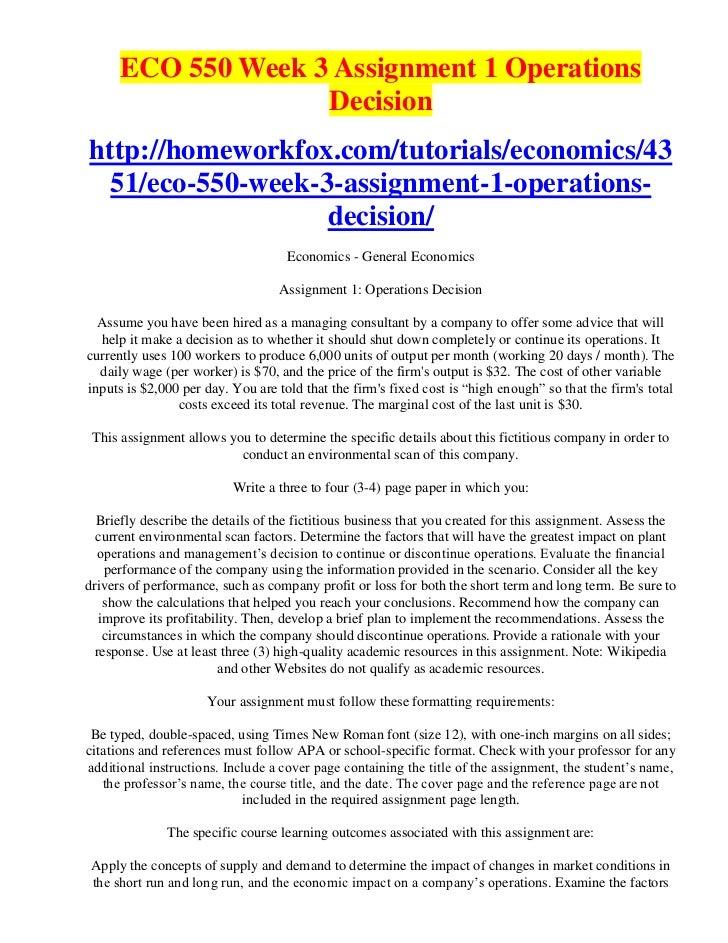 Eco550 assignment 1 managerial economics