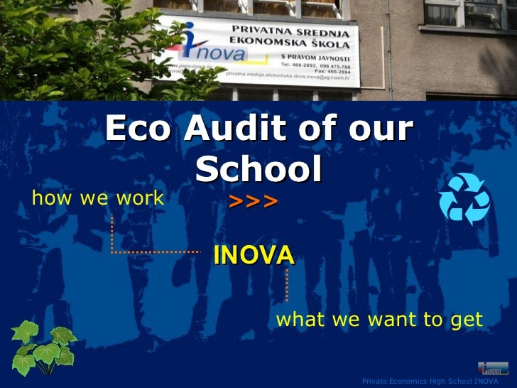 Private Economics High School INOVA Eco Audit of our School how we work what we want to get INOVA >>>