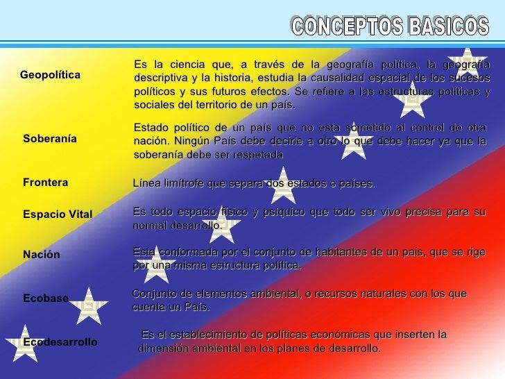 CONCEPTOS BASICOS Es la ciencia que, a través de la geografía política, la geografía descriptiva y la historia, estudia la...