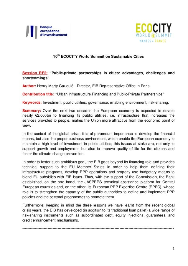 """10th ECOCITY World Summit on Sustainable Cities  Session RF2: """"Public-private partnerships in cities: advantages, challeng..."""