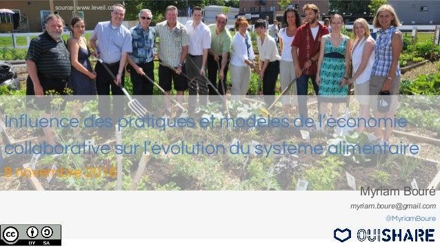 Influence des pratiques et modèles de l'économie collaborative sur l'évolution du système alimentaire 8 novembre 2016 Myri...