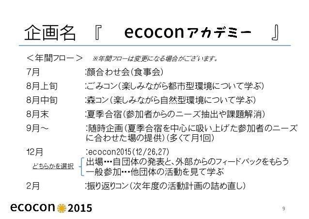 企画名 『 ecocon 』 <年間フロー> 7月 :顔合わせ会(食事会) 8月上旬 :ごみコン(楽しみながら都市型環境について学ぶ) 8月中旬 :森コン(楽しみながら自然型環境について学ぶ) 8月末 :夏季合宿(参加者からのニーズ抽出や課題解...