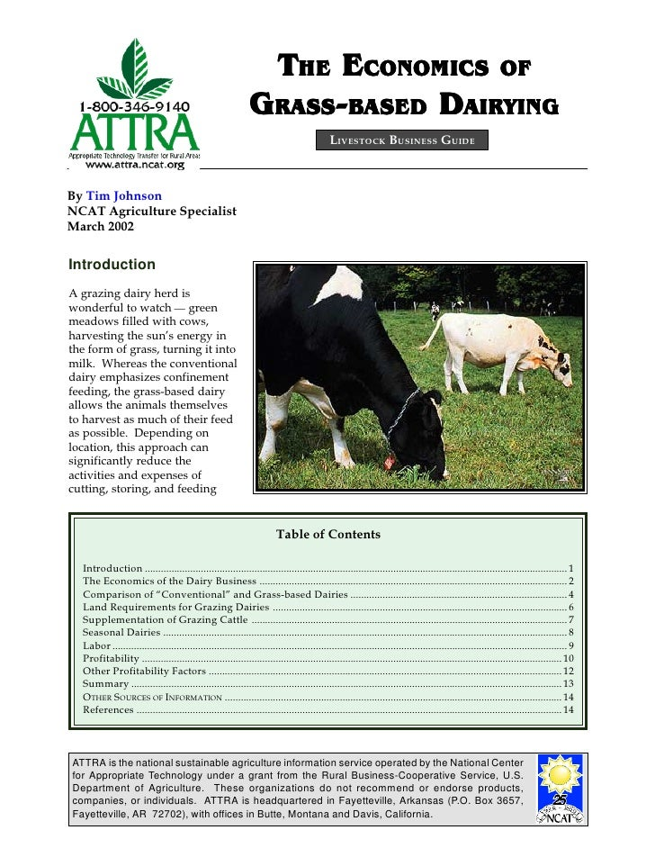 THE ECONOMICS OF                                                              GRASS-BASED DAIRYING                        ...