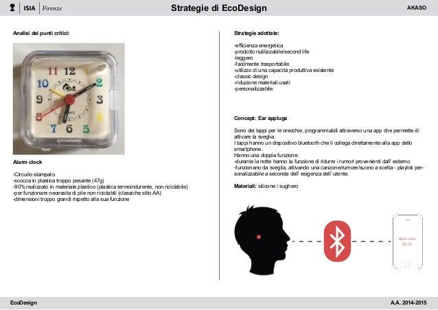 Strategie di EcoDesign Analisi dei punti critici: Alarm clock -Circuito stampato -scocca in plastica troppo pesante (47g) ...