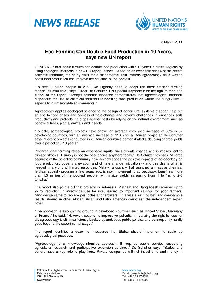 8 March 2011       Eco-Farming Can Double Food Production in 10 Years,                      says new UN reportGENEVA – Sma...