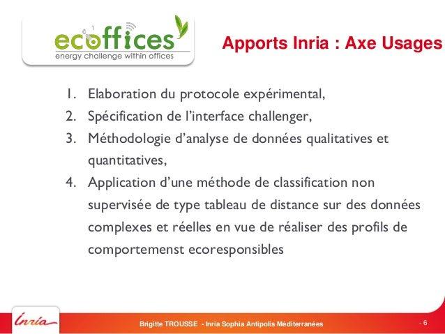 Apports Inria : Axe Usages1. Elaboration du protocole expérimental,2. Spécification de l'interface challenger,3. Méthodolo...