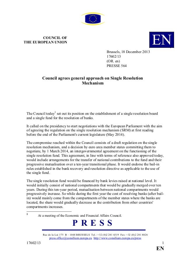 EN  COU CIL OF THE EUROPEA U IO Brussels, 18 December 2013 17602/13 (OR. en) PRESSE 564  Council agrees general approach o...