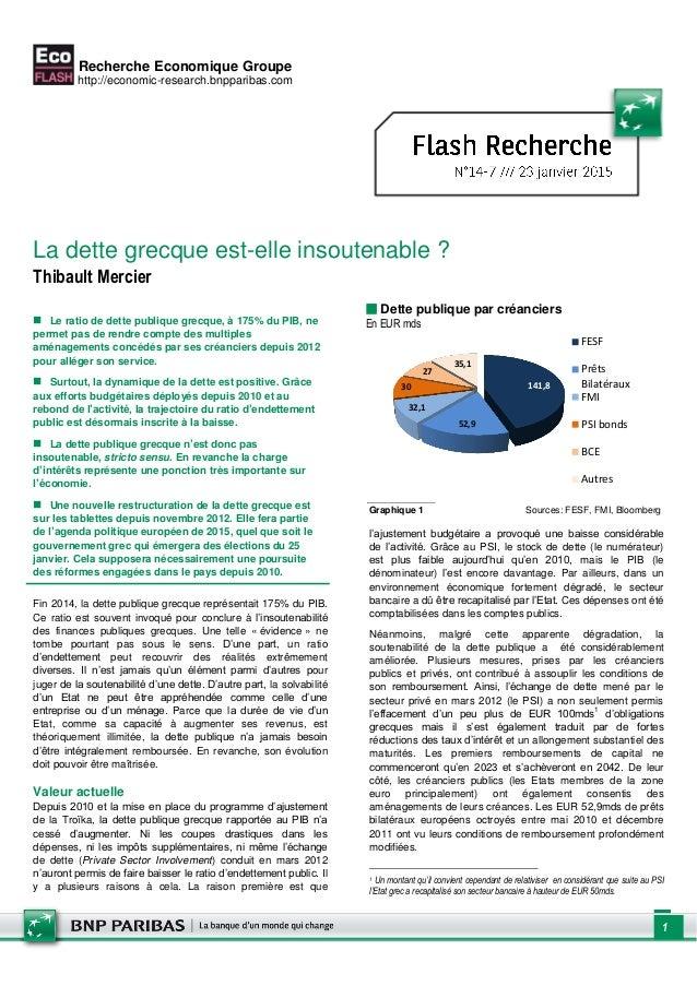 Recherche Economique Groupe http://economic-research.bnpparibas.com 1 La dette grecque est-elle insoutenable ? Thibault Me...