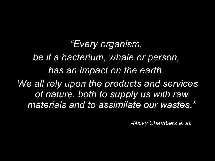 "<ul><li>"" Every organism,  </li></ul><ul><li>be it a bacterium, whale or person,  </li></ul><ul><li>has an impact on the e..."