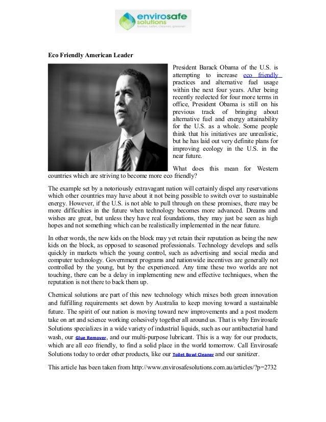Eco Friendly American Leader                                                  President Barack Obama of the U.S. is       ...