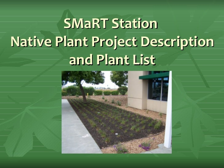 SMaRT Station  Native Plant Project Description and Plant List