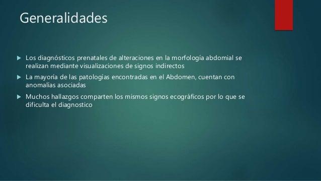 Generalidades  Los diagnósticos prenatales de alteraciones en la morfología abdomial se realizan mediante visualizaciones...