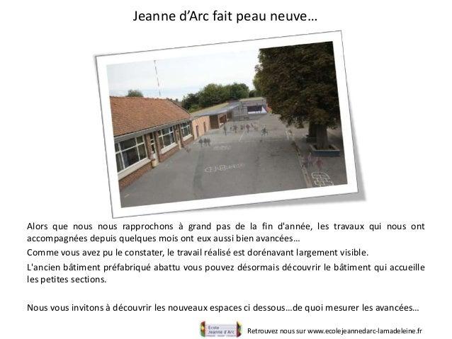 Jeanne d'Arc fait peau neuve…Retrouvez nous sur www.ecolejeannedarc-lamadeleine.frAlors que nous nous rapprochons à grand ...