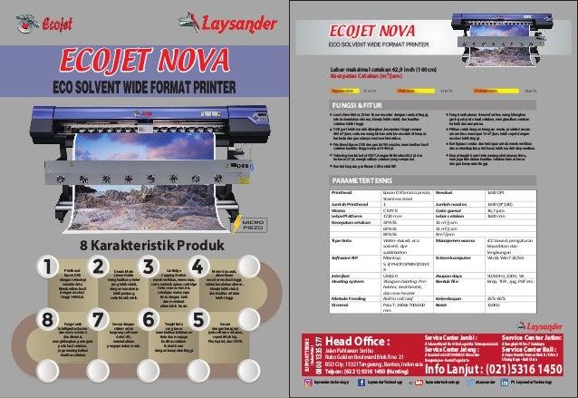 ECOJET NOVAECOJET NOVA ECOJET NOVAECOJET NOVA 8 Karakteristik Produk Printhead Epson DX5 dengan teknologi variable dots; M...