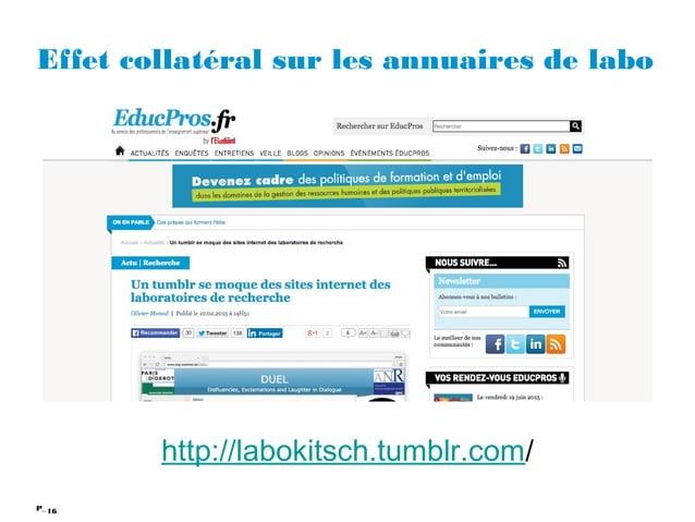 16P_ Effet collatéral sur les annuaires de labo http://labokitsch.tumblr.com/