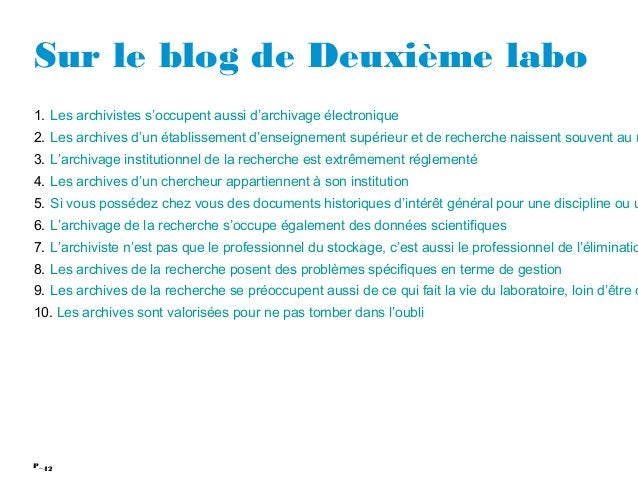 42P_ Sur le blog de Deuxième labo 1. Les archivistes s'occupent aussi d'archivage électronique 2. Les archives d'un établi...
