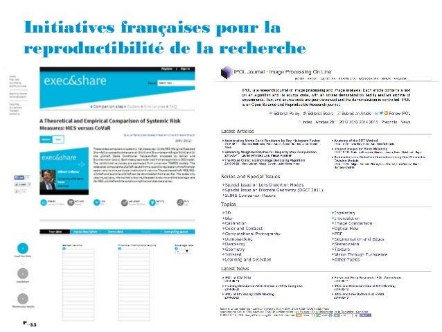 33P_ Initiatives françaises pour la reproductibilité de la recherche 33