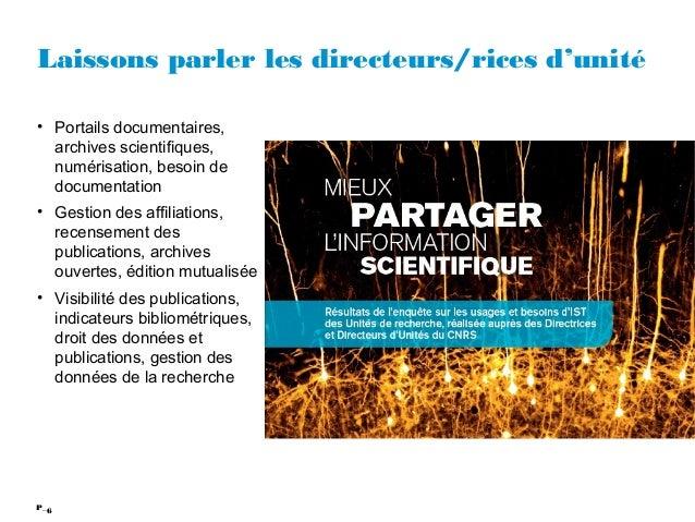 6P_ Laissons parler les directeurs/rices d'unité • Portails documentaires, archives scientifiques, numérisation, besoin de...