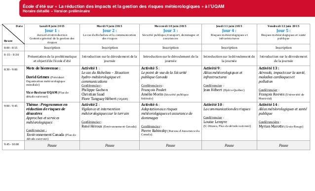 École d'été sur « La réduction des impacts et la gestion des risques météorologiques » à l'UQAM Horaire détaillé – Version...