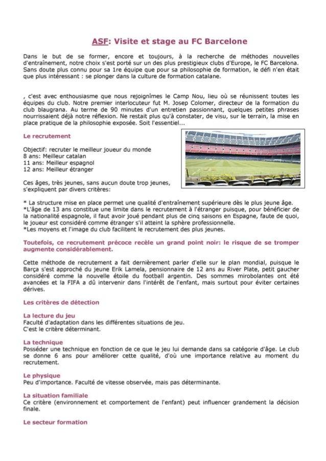 Visite et stage Au FC Barcelone