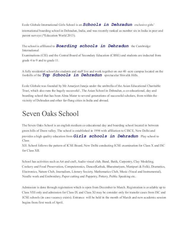 Ecole Globale International Girls School is an Schools in Dehradun exclusive girls' international boarding school in Dehra...