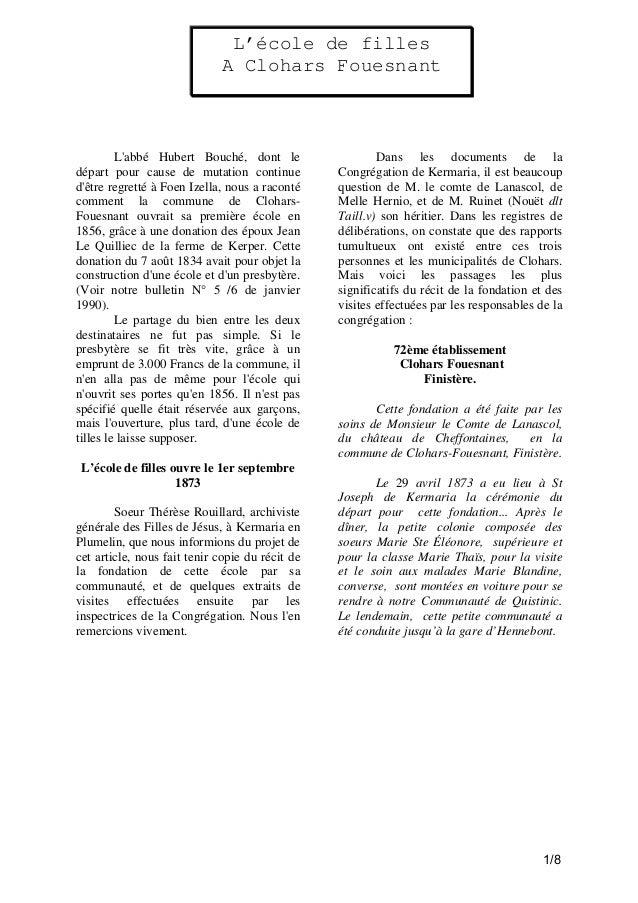 L'école de filles A Clohars Fouesnant  L'abbé Hubert Bouché, dont le départ pour cause de mutation continue d'être regrett...