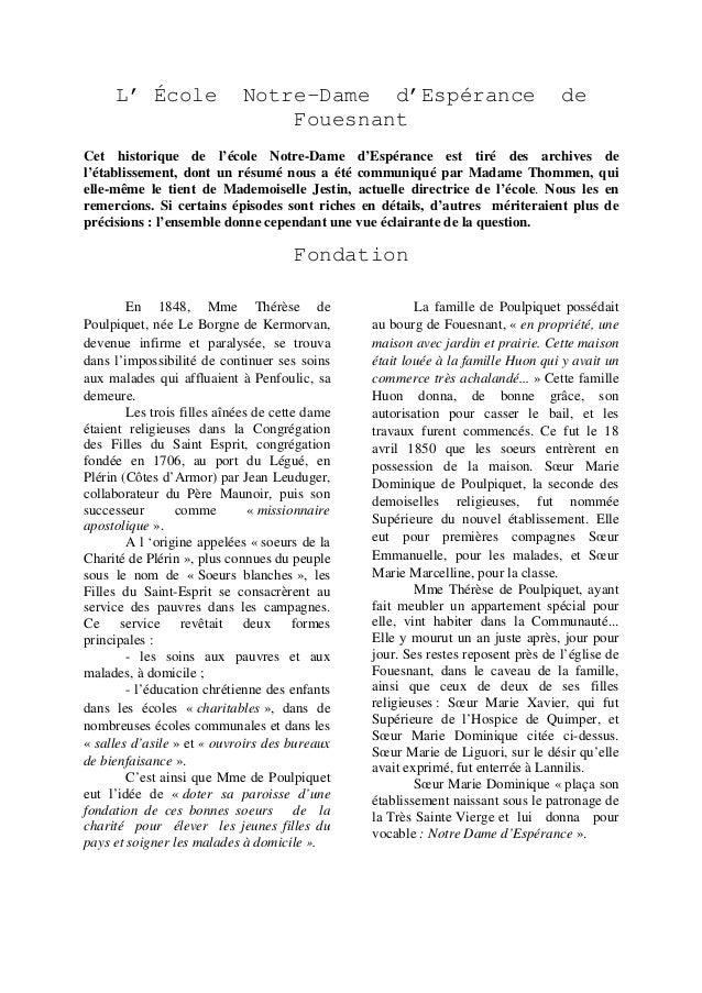 L' École  Notre-Dame d'Espérance Fouesnant  de  Cet historique de l'école Notre-Dame d'Espérance est tiré des archives de ...