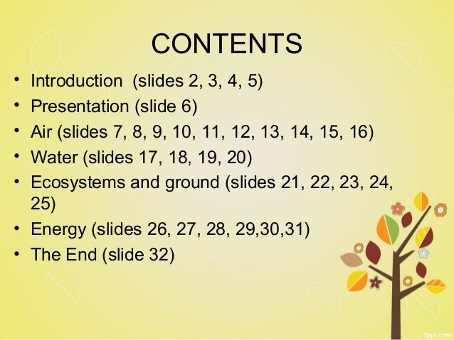CONTENTS  • Introduction (slides 2, 3, 4, 5)  • Presentation (slide 6)  • Air (slides 7, 8, 9, 10, 11, 12, 13, 14, 15, 16)...