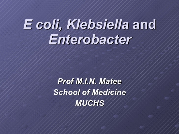 E coli, Klebsiella  and  Enterobacter Prof M.I.N. Matee School of Medicine MUCHS