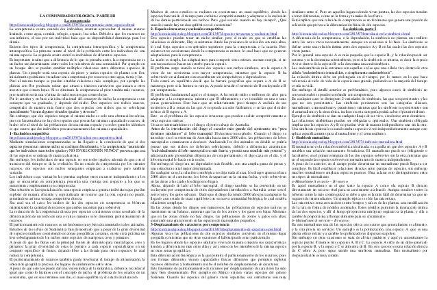 LA COMUNIDAD ECOLÓGICA. PARTE III La competencia http://cienciasdejoseleg.blogspot.com/2013/07/la-competencia-entre-especi...