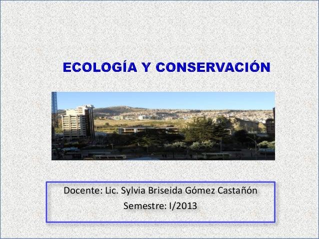 Docente: Lic. Sylvia Briseida Gómez CastañónSemestre: I/2013