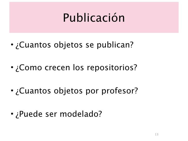Publicación  • ¿Cuantos objetos se publican?  • ¿Como crecen los repositorios?  • ¿Cuantos objetos por profesor?  • ¿Puede...