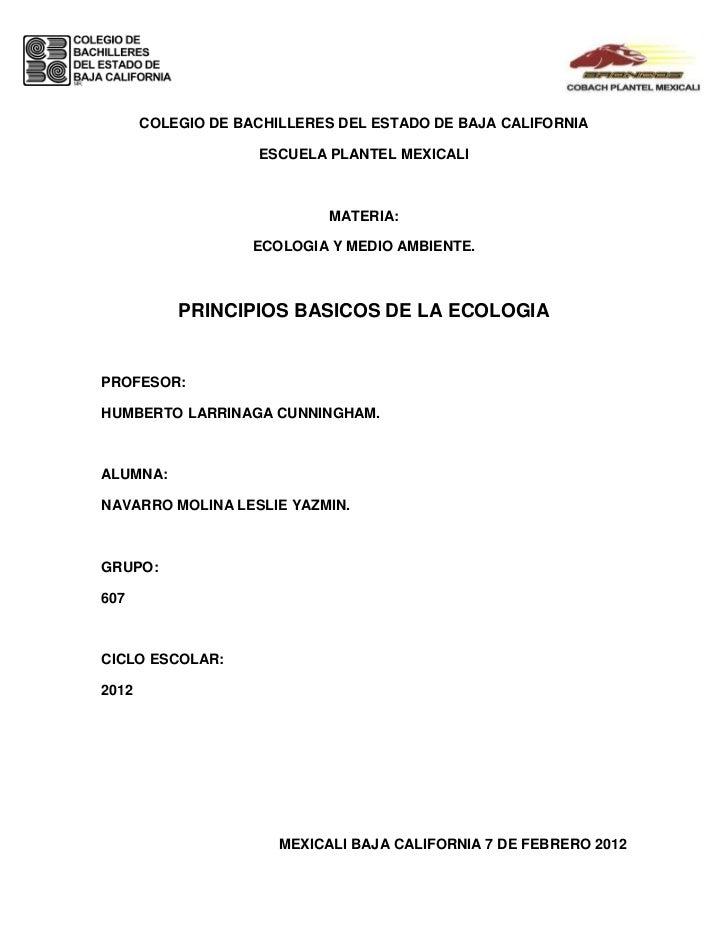COLEGIO DE BACHILLERES DEL ESTADO DE BAJA CALIFORNIA                    ESCUELA PLANTEL MEXICALI                          ...