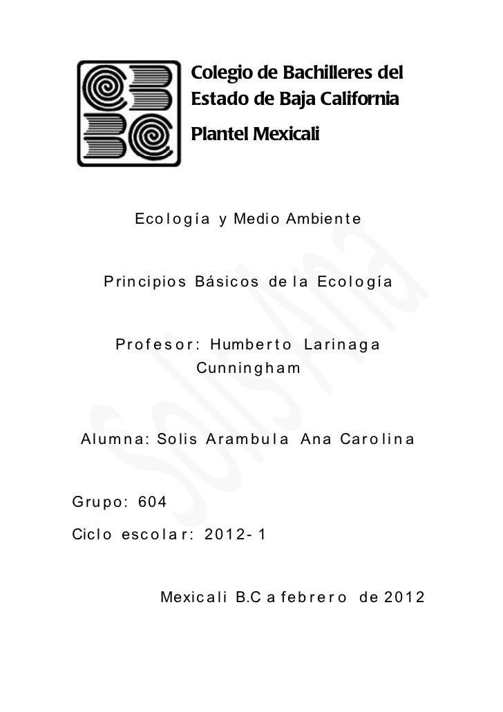 Colegio de Bachilleres del                    Estado de Baja California                    Plantel Mexicali          Ec o ...