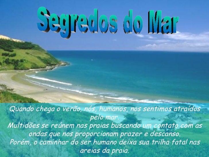 Segredos do Mar Quando chega o verão, nós, humanos, nos sentimos atraídos pelomar. Multidões se reúnem nas praias buscand...